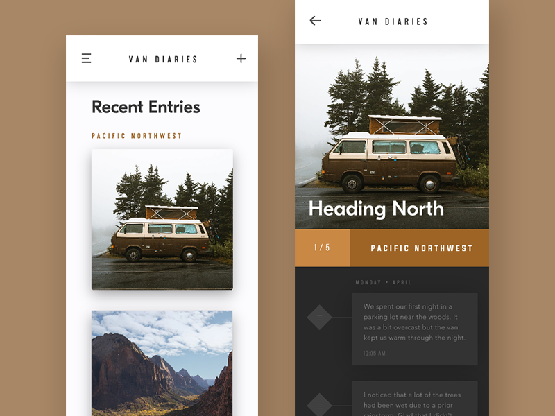 Van Diaries (InVision Studio Study) forest tan brown ux ui design app invision adventure travel van