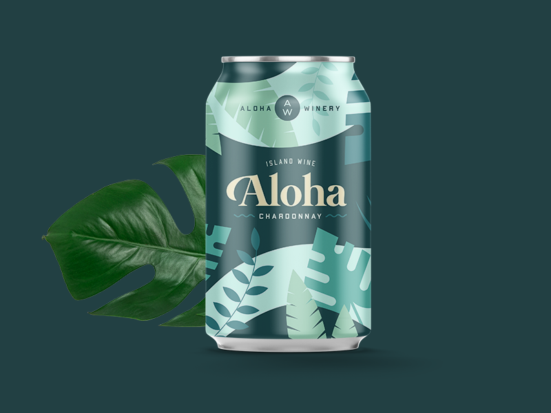 Aloha Winery Concept summer beach design branding can tropical illustration winery wine aloha
