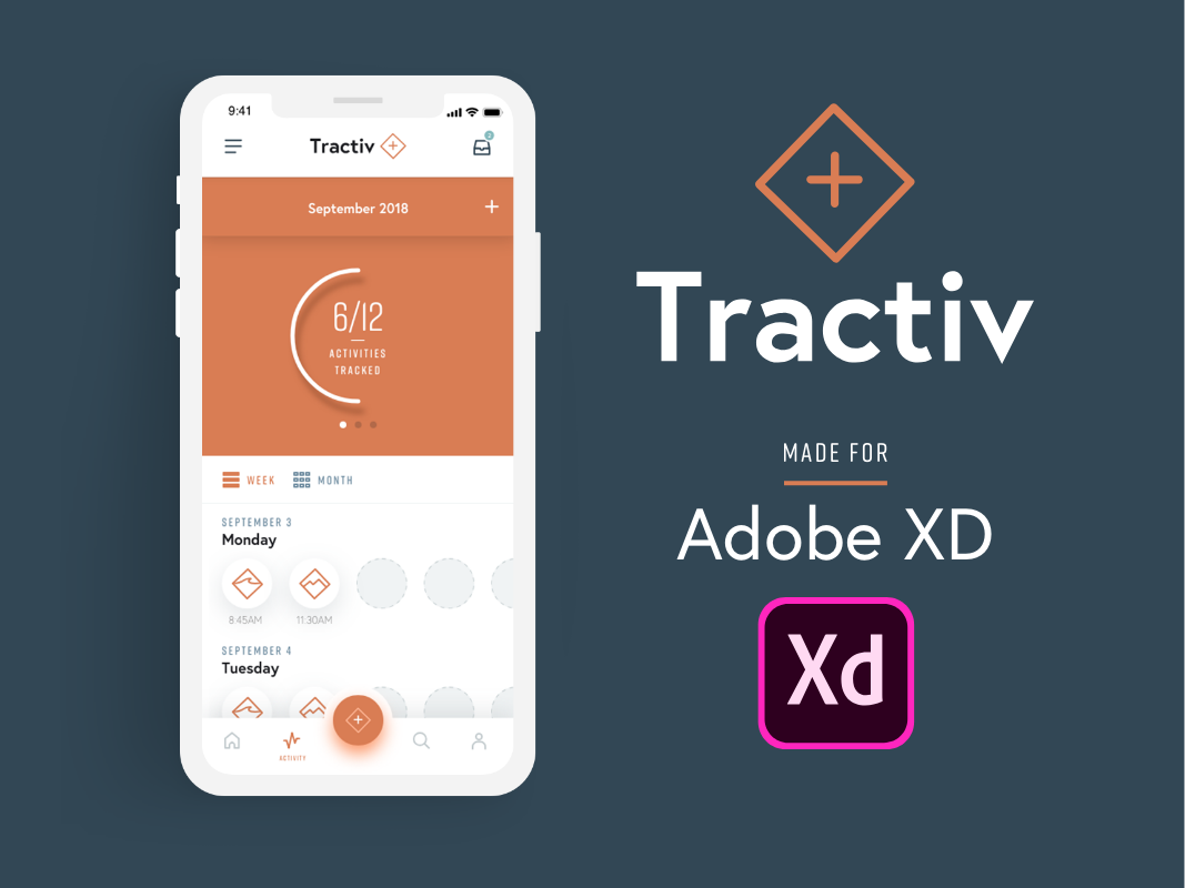 FREE Mobile Tractiv UI Kit Designed in Adobe XD layout logo minimal prototype adobexd adobe fitness mobile app ux ui uikit free