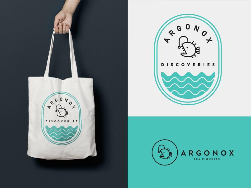 ArgoNox Branding Concept vector illustration minimal anglerfish badge logo branding fish ocean sea