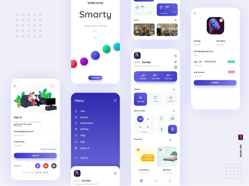 Smarty Smarthome App idea xd animation best creative interface home automation smarthome xd typography ux vector ui logo illustration drawer colorful branding app design