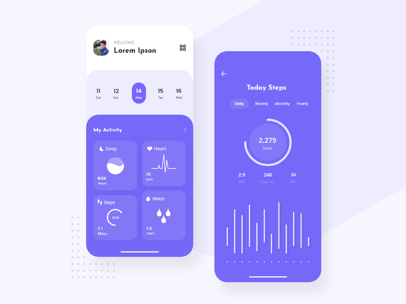 Fitness App fitness tracker fit feet work water notification branding ui minimal design creative today work workout of the day fitness app body maintain fitness app ui workout gym exercise app