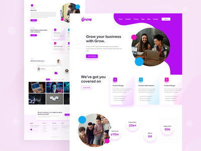 Landing Page Design branding ui trend responsive design responsive webdesign visual design ux design landing web web ui colorful template agency business agency testimonials fetured business landing clean design