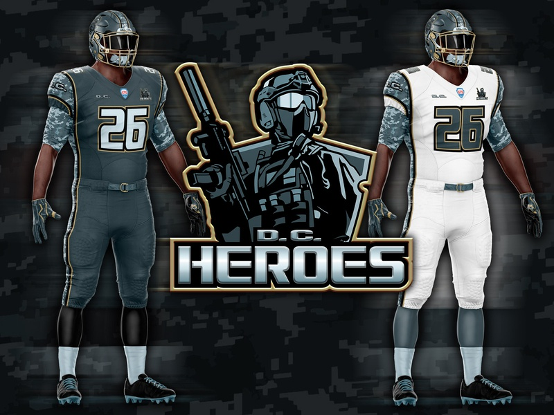 D.C.  Heroes download .psd psd military brand identity product identity rebranding branding logo photoshop camouflage fictional american football football nfl