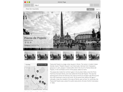 Free For Tourists Activity Page