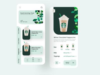 Starbucks App Redesign uxui orders starbucks customize pattern uidesign ux uiux ui mobile uiux green frappuccino food tea coffee app ui ux mobile ui appui app ui app