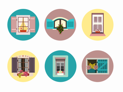 Windows & Flowers icons illustration