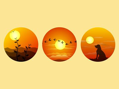 Sunset Illustrations digital art vector art illustration
