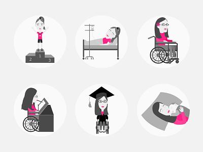 Landmarks in my Life icons illustration