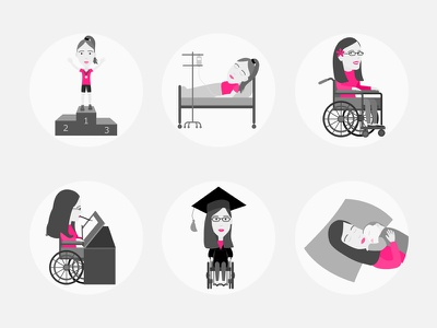 Landmarks in my Life icons illustration