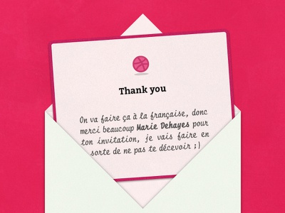 Thank you Marie Dehayes first shot dribbble invitation thanks
