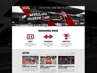 Tarn Sud Athlétisme - Redesign Concept webdesign grid flat design sport homepage redesign concept tarn sud athlétisme tsa