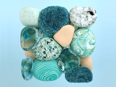 Hues for days - Aqua Coral blender creative direction 3d modeling branding motion graphics graphic design 3d