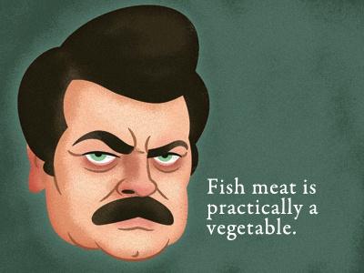 Ron Swanson caricature illustration quote