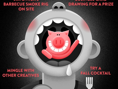 Detail from BBQ Poster poster bbq pig bw