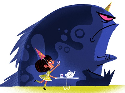 Tea Party monster illustration retro photoshop