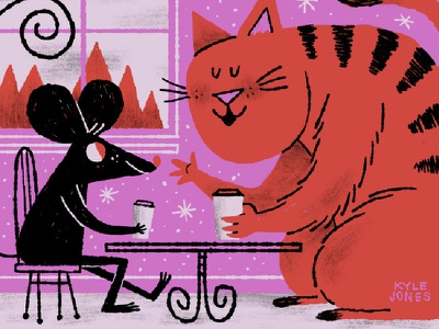 Cat and Mouse editorial illustration