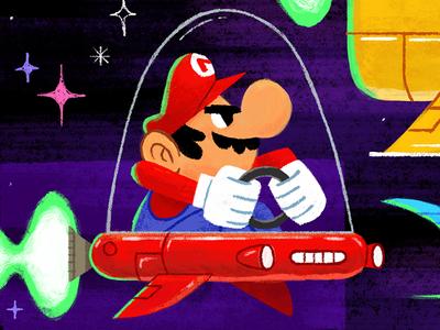 Mario! illustration spaceship mario kartart mariokart