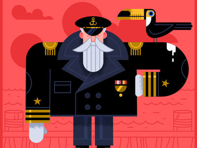 Toucan + Captain vector captain bird naval illustration