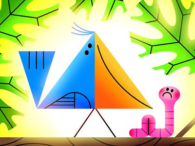 Triangle Bird geometric tree worm bird illustration