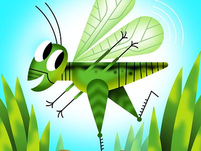 Grasshopper kidlit cricket grasshopper illustration
