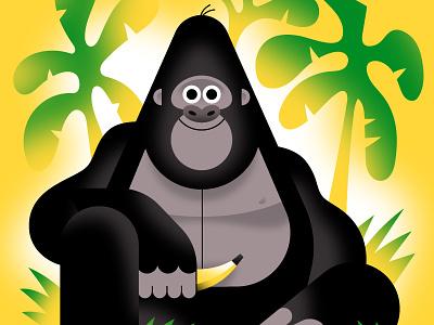 Gorilla! illustrator flat geometric illustration ape gorilla