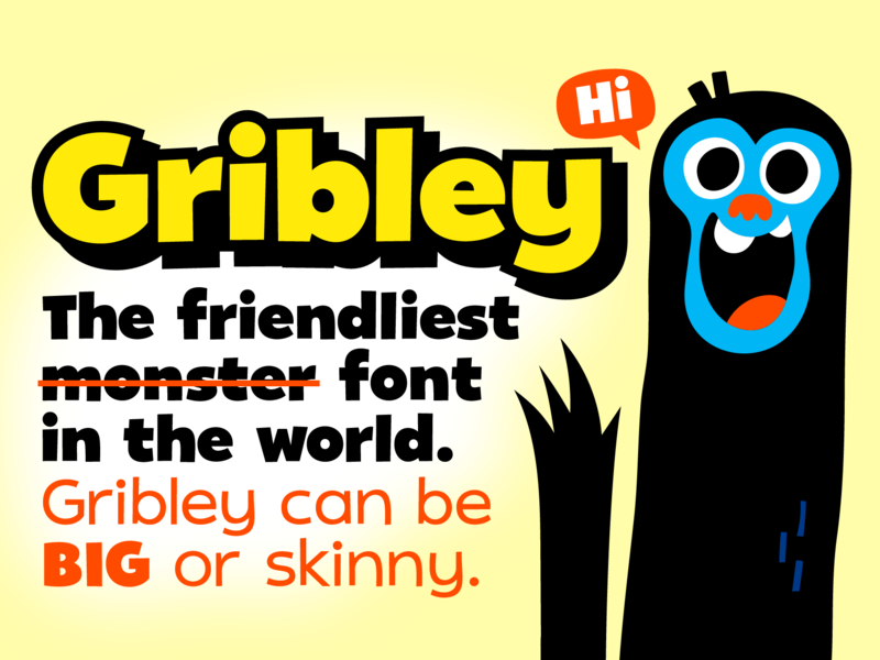 New Font: Gribley! typeface haafehaph cartoony playful creativemarket monster friendly font