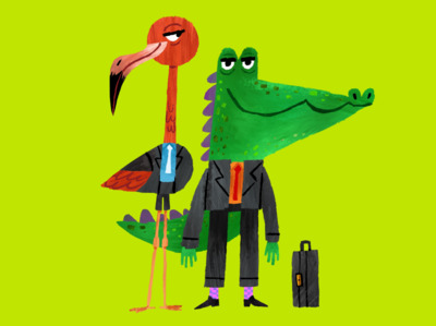 Business Associates midcentury kidlit green flamingo alligator illustration