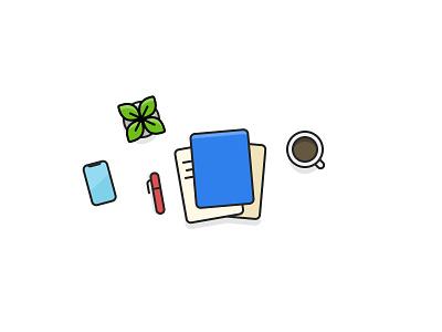 Design exercises: morning desk illustration desk coffee vector illustration