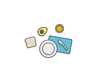 Design exercises: brekkie avocado breakfast vector illustration