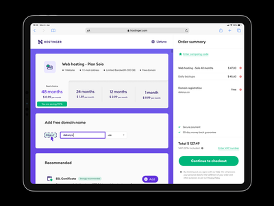 Web Hosting Checkout ui interface payment summary order shop checkout light web hosting 12.9 safari ipad