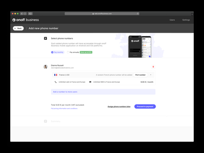 Onoff Business - UI for cloud telephony management platform. ui software panel messages calls international users onoff phone numbers telecom telco management interface business saas b2b app web