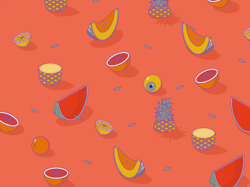 Il fruttivendolo pattern art simmetry composition color theory eye summer italy pinepple fruit fruits design isometric illustration