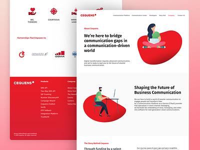 Cequens About page ui telecommunication illustraion web design about page