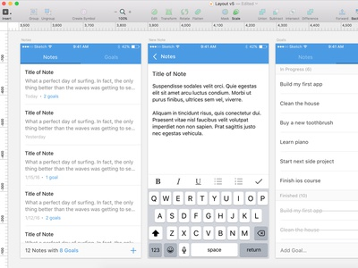 Notes and Goals swift blue goals notes writing app
