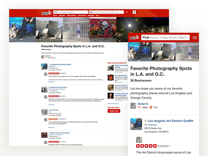 Yelp Lists Redesign photos businesses reviews redesign lists yelp