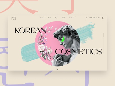 Korean cosmetics online store illustration website typography web design