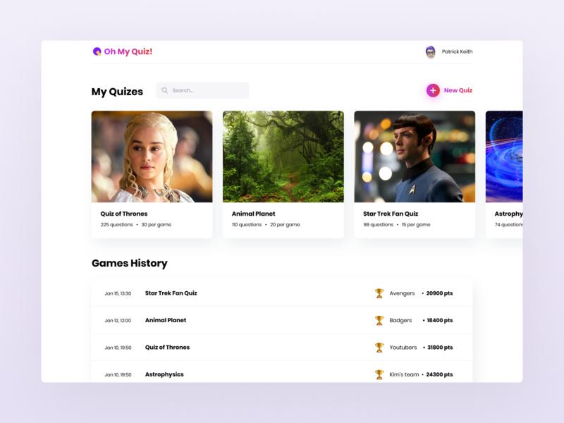 Quiz App Web Design app discover online trivia modern party qr code search create game congratulation questionnaire quiz playful social app ui ux ronasit website