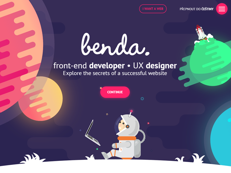 Space Portfolio Website | Hero branding flat illustration ios landing page filip benda ui ux web hero