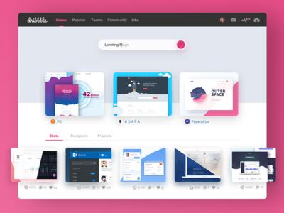 Dribbble Redesign | Homepage Concept website ux uix ui concept redesign ios invite dribbble design benda