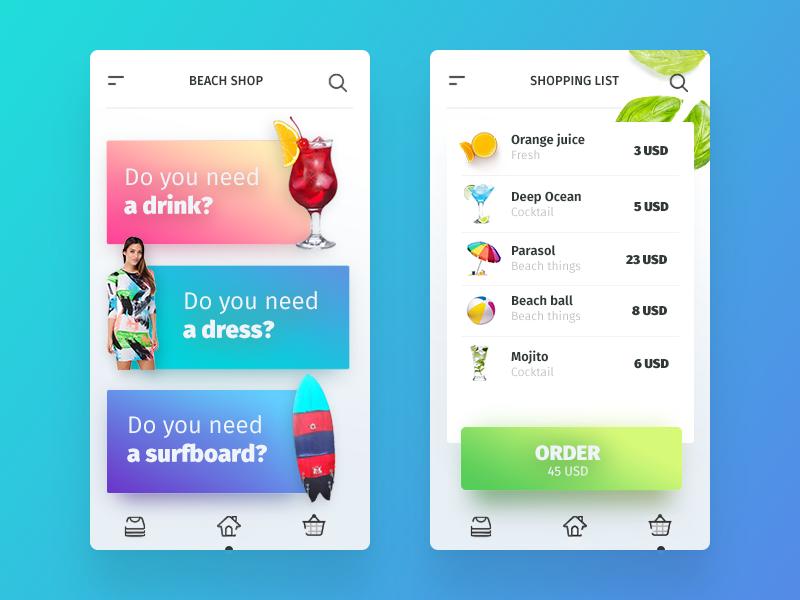 Beach Shop | Mobile App ux eshop iphone ios invite interface gradient filipbenda dribbble design beach benda