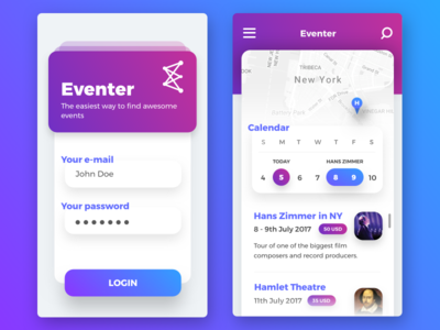 Eventer | Mobile App ux restaurant map iphone ios invite interface gradient eventer filipbenda dribbble benda