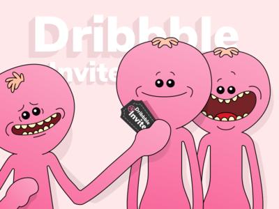 Meeseeks Want You | Dribbble Invite Giveaway x1 dribbble invite giveaway benda filip flat rick and morty illustration ios pink meeseeks ux