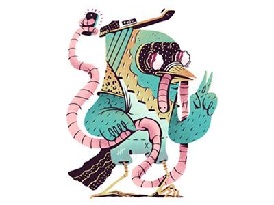 Early bird selfie pictoplasma character illustration design selfie exhibition art