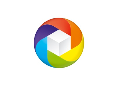 Packaging logo logo circle box cube icon swirl packaging identity mobius colorful