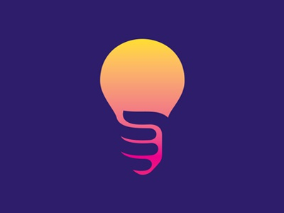 Light bulb logo log light bulb idea hand holding negative space