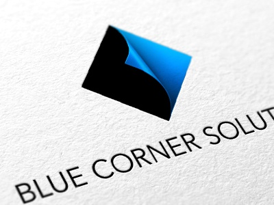 BLUE CORNER SOLUTIONS logo logo identity business b symbol blue corner solutions page curl black effect curl pattern shaded 3d square diamond sheet turn forward arrow clever investment finance advisers advisory