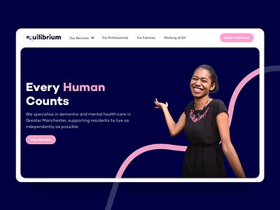 Equilibrium Healthcare Website ui design header design colorful clean landing page mobile design mobile responsive care people icon design icon website design ux ui healthcare web design animation website