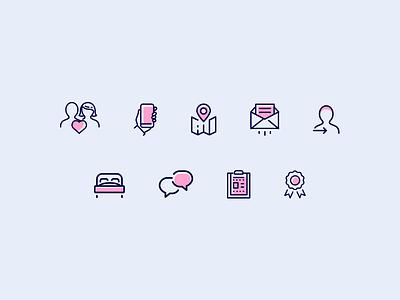 Equilibrium Healthcare Website colorful care healthcare outline icon icon design illustration icon