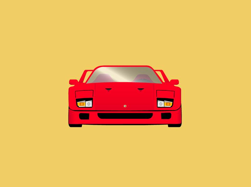Ferrari F40 red car f40 ferrari illustration